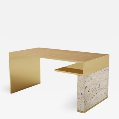 Carlyle Collective Continuous Travertine Writing Table