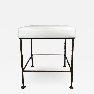 Carole Gratale Square Stool Cast Bronze Base Leather Seat Pair