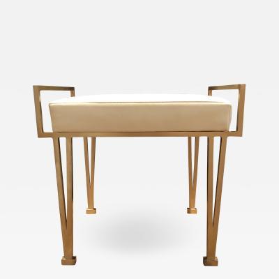 Carole Gratale V Leg bench Satin bronze base Leather upholstered seat