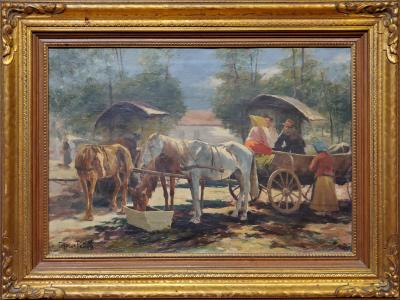 Carolus Pallya Horse and Carriage an Oil Painting signed by Carolus Pallya