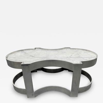 Carrara Marble and Chrome Two Tier Coffee Table