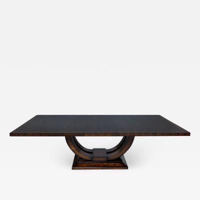 Carrocel Interiors Custom Art Deco Style Mahogany Dining Table with Rosewood Banding by Carrocel
