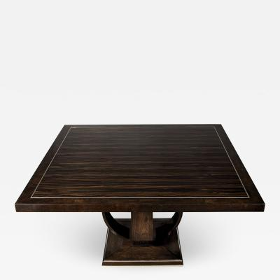 Carrocel Interiors Modern Square Walnut Dining Table with Macassar Ebony Inlay