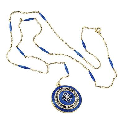 Carter Gough Co 1915 Champleve Blue Enamel and Gold Vinaigrette Necklace by Carter Gough