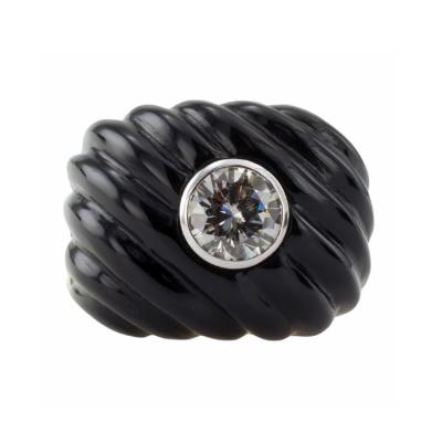 Carved Black Jade Diamond Ring