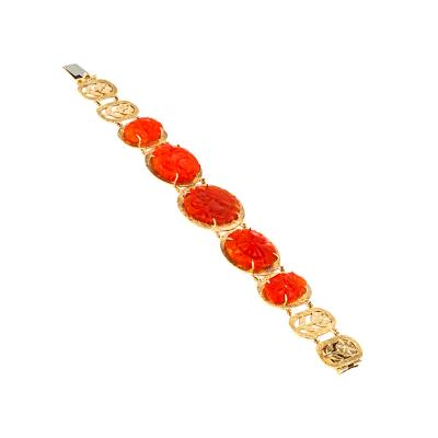 Carved Carnelian and Gold Bracelet