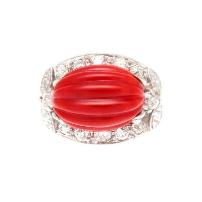 Carved Coral Diamond Gold Ring