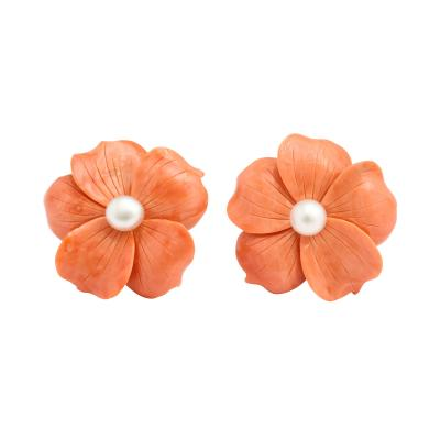 Carved Coral and Pearl Flower Earrings