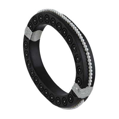 Carved Ebony Bangle set with Diamonds and Pearls