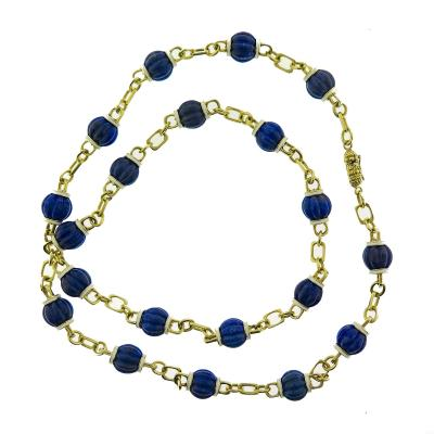 Carved Enamel and Lapis Chain