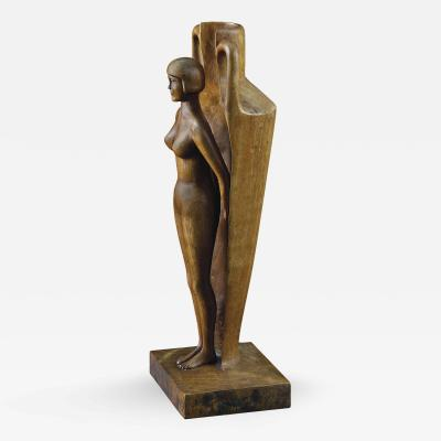 Carved Figurative Vase with Nude Woman for a Mens Club