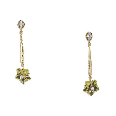 Carved Floral Lemon Topaz Drop Earrings with Diamonds 14 Karat Gold