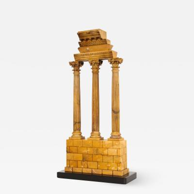 Carved Giallo Antico Grand Tour Model of the Temple of Castor and Pollux