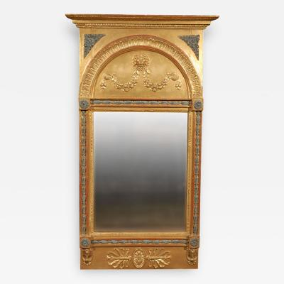 Carved Gilt Framed Mirror with Cornice Top Over an Arch