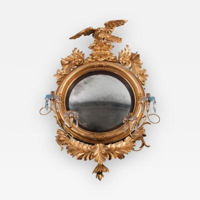 Carved Gilt Wood Convex Girandole Mirror