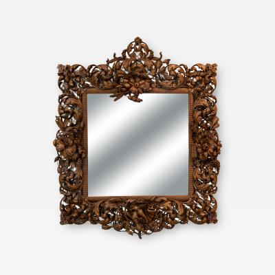 Carved Limewood Mirror Frame In The Manner Of Grindling Gibbons English ca1880
