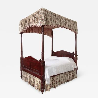 Carved Mahogany Four Posted Bed