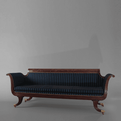 Carved Mahogany Grecian Sofa in the manner of Duncan Phyfe