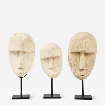 Carved Modernist Plaster Mask Sculptures