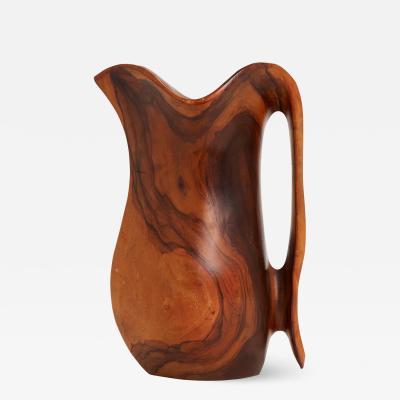 Carved Olive Wood Jug