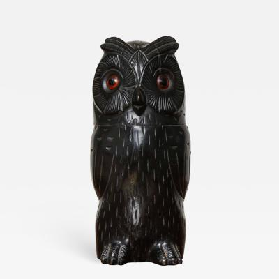 Carved Owl Tobacco Jar