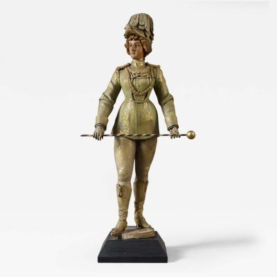Carved Painted Band Organ Figure of a Woman Dressed in a Parade Uniform