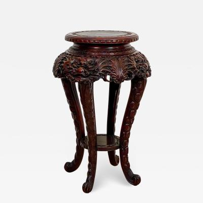 Carved Plant Stand Japan Circa 1900