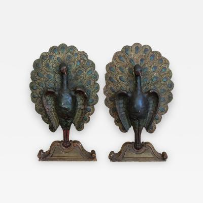 Carved Polychrome Painted Peacocks