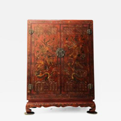 Carved Red Asian Armoire