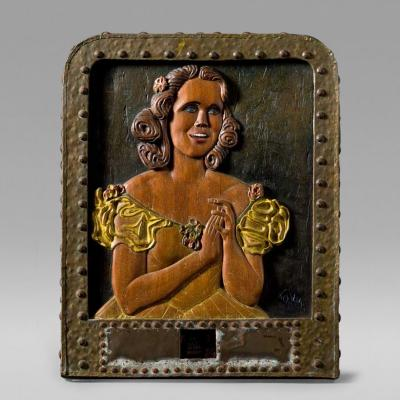 Carved Relief of a Singing Woman in Yellow dress c 1925 1930