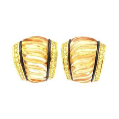 Carved Rock Crystal Yellow Sapphire Onyx Gold Earrings