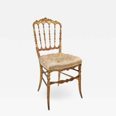 Carved Side Chair with Tufted Seat