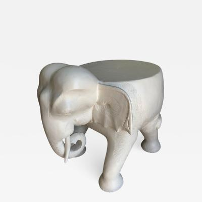 Carved Wood Gesso Elephant Side Table or Ottoman