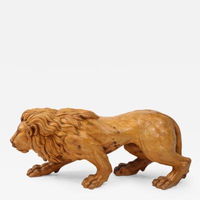 Carved Wood Lion Sculpture