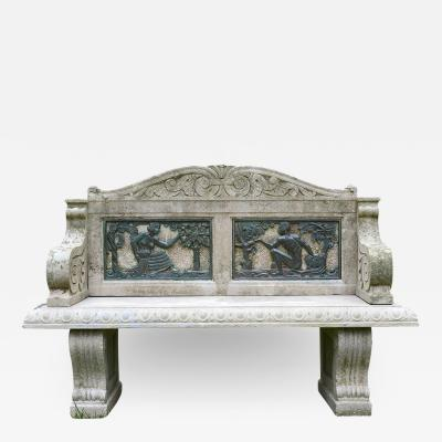 Carved and Cast Stone Garden Bench with Inset Bronze Figural Panels