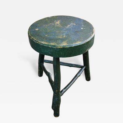 Carved and Painted Tripod Stool with Twig Base American Late 19th Century