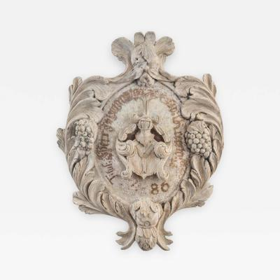 Carved and Painted Wood Trophy Coat of Arms Probably German