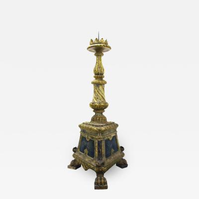 Carved and gilded wooden candlestick painted in fake marble Venice 1500