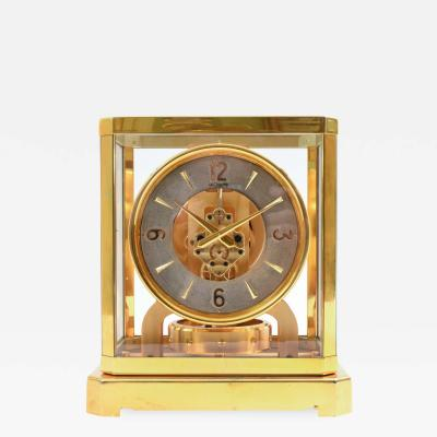 Case Glass Brass Jaeger Le Coultre Mantel Desk Clock
