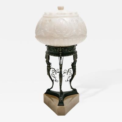 Cast Bronze Alabaster Accent Lamp