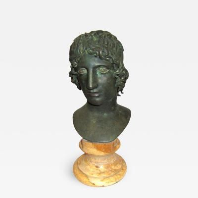 Cast Bronze Bust of Apollo on a Sienna Marble Base