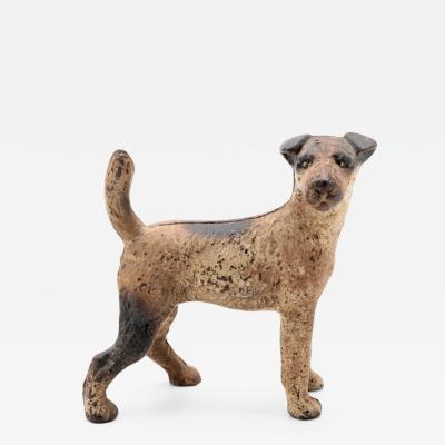 Cast Iron Fox Terrier Dog Doorstop Early 20th Century