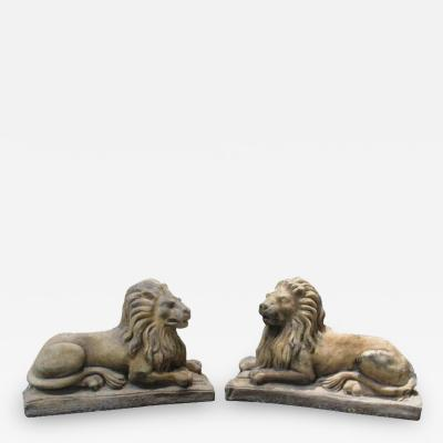Cast Stone Garden Lions Recumbent Lions on Plinth Bases a Pair