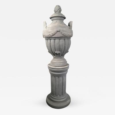 Cast Stone Greek Form Solid Urn on Terracotta Pedestal