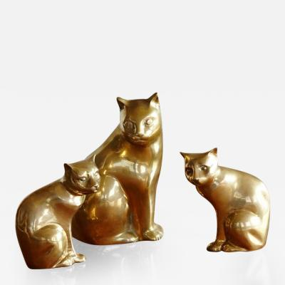 Cat Family Group of Three Brass Cats Mother and Two Kittens