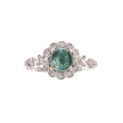 Cat s Eye 91 Carat Alexandrite Diamond Halo Gold Engagement Ring