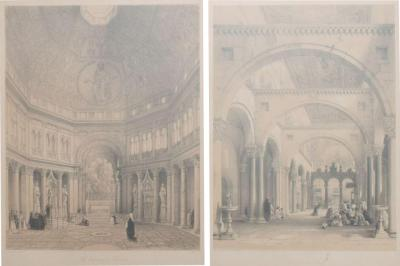 Cathedral Art Italian Architectural Scene Lithograph Pair