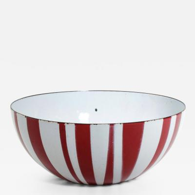 Catherine Holmes Decorative Red Enamel Stripes Salad Bowl MOMA Danish Modern