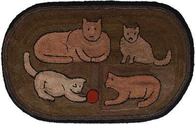 Cats Hooked Rug Circa 1920 Pennsylvania