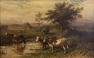 Cattle in a Pasture on a Cloudy Day Oil on Canvas Painting